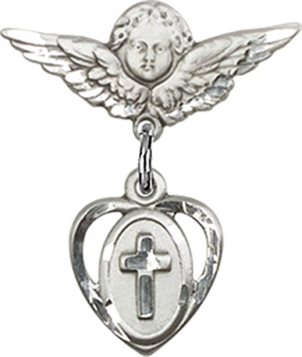 Sterling Silver Baby Badge Cherub Angel Pin with Heart with Cross Charm, 3/4 Inch