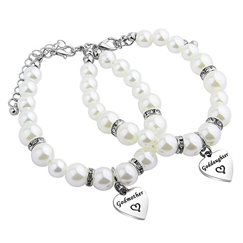 daughter Pearl Bracelet Set First Communion Gift Goddaughter Jewelry for Godmother (Godmother/Goddaughter Pearl Bracelet) ()