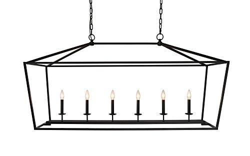 PRAVO 54 INCH WIDE BLACK ISLAND LIGHT (Rectangular Lantern Chandelier)
