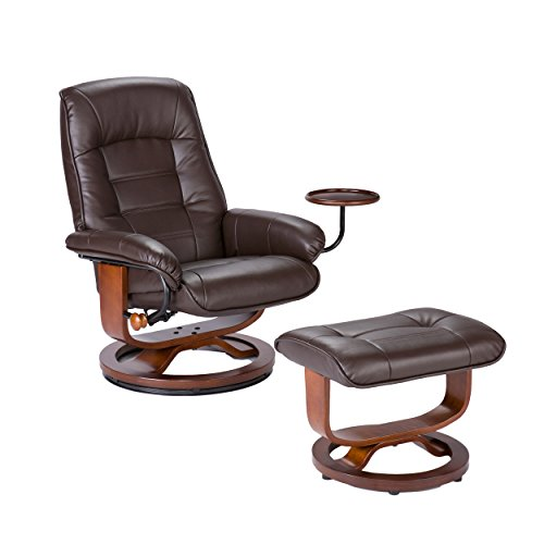 Merveilleux Bonded Leather Recliner And Ottoman   Coffee Brown