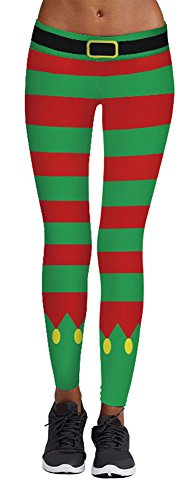 Jescakoo Cute Red Green Christmas Socks Print Striped Leggings for Holiday -