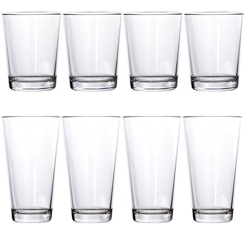 Chip Capacity Clear Acrylic - Bistro Premium Quality Clear Plastic Tumblers | set of 8 | four 15-ounce and four 20-ounce