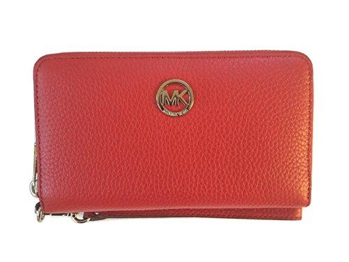 Michael Kors Fulton Large Flat Multifunction Leather Phone Case Wristlet, Red