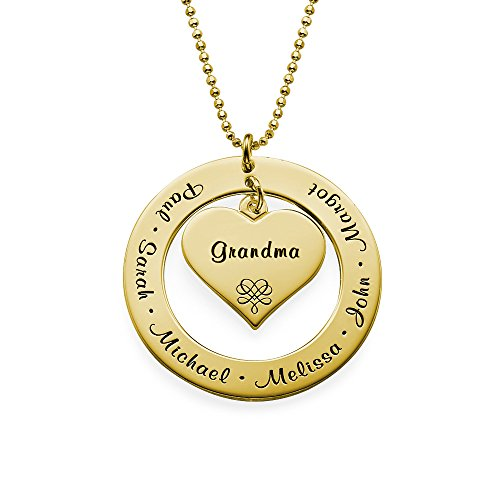 Grandmother/Mother Necklace - Personalized Gold Plating Engraving with Names - Gift for Her