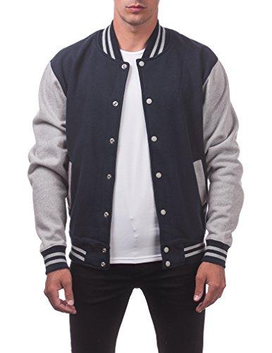 (Pro Club Men's Varsity Fleece Baseball Jacket, Navy/Heather Gray, Large)