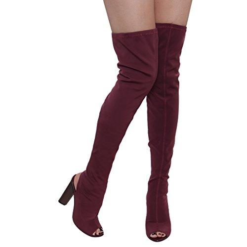 Beston FG20 Damen Stretchy Overknee Peep Toe Stacked Heel Stiefel Burgund