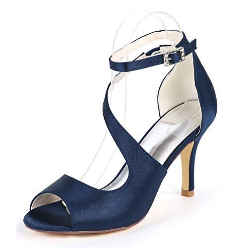 Blue Schuhe Hochzeit 42 YC Round Heels Elfenbein Blume Braut L Low Frauen Navy 35 Ferse High 6cm Toe Toe n0UfBxfw