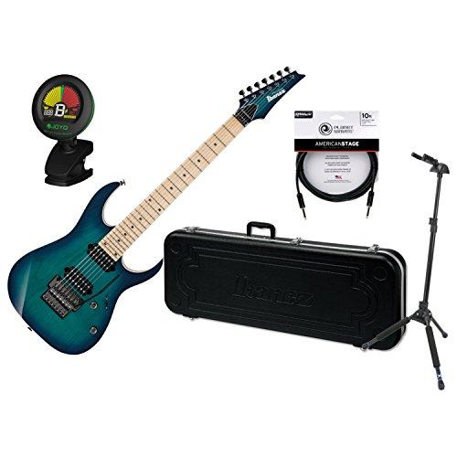 Prestige 7 String - Ibanez RG752AHMNGB RG Prestige Nebula Green Burst 7-String Electric Guitar w/ Case, Locking Stand, Tuner, and Cable