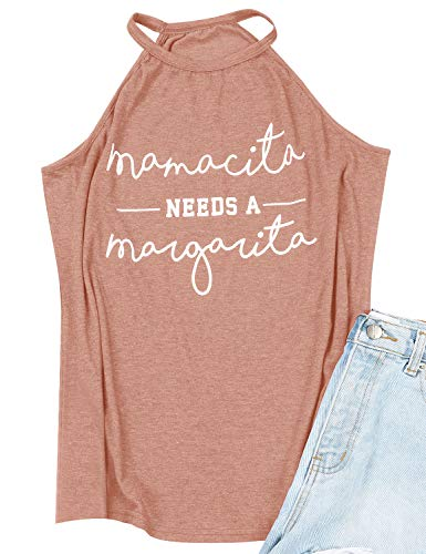 OUNAR Mamacita Needs A Margarita Tank Top Halter Neck Camisole Sexy Mom Wife Gift (S, 1-Coral Pink)