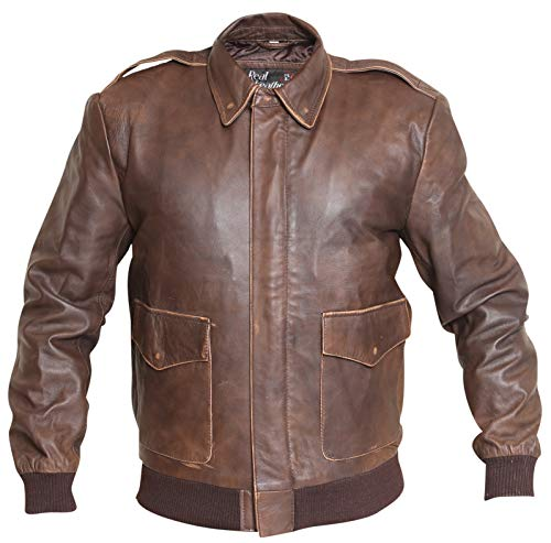 1e70e11e1 Aviator A2 Distressed Brown Real Leather Bomber Jacket - Buy Online ...