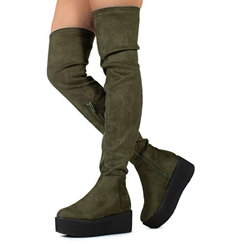 - Pinot-23 Women's Narrow Calf Fit High Platform Side Zip Opening Over The Knee Boots Olive (7)