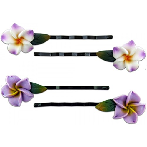 Fimo Hair Flower Mini Bobby Pin Set of 4 Plumeria White Purple with Yellow & ()