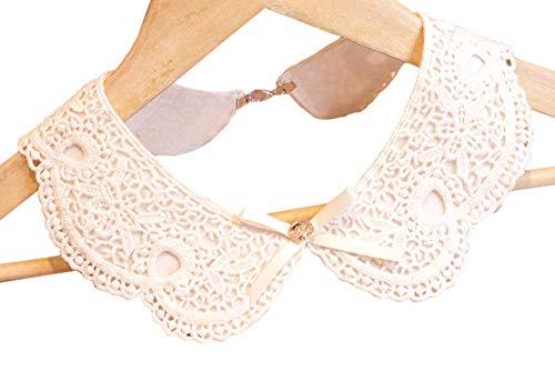 Vpang Detachable Blouse False Collar Sweet Lace Flowers Fake Collar Choker Peter Pan Necklace (White)