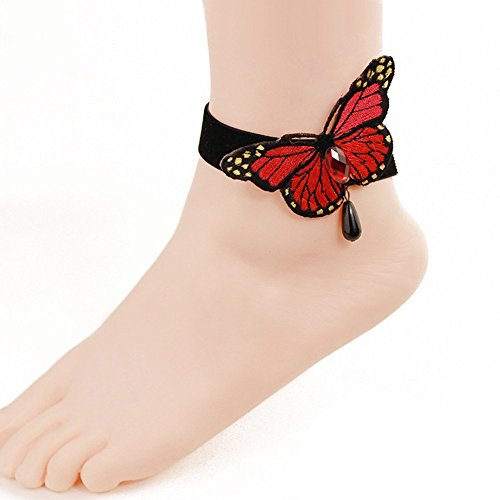 Butterfly Beach seaside foot ring accessories section- Butterfly Ankle Ring Foot Sandal Beach Wedding Ankle Bracelet Women Girls Anklet ()