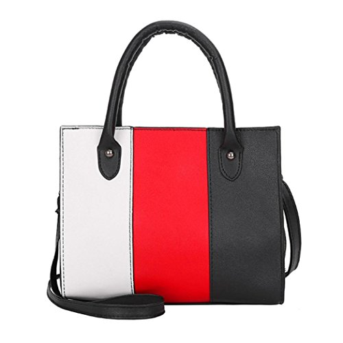huichang Color Blocking Leather Messenger Crossbody Satchel Tote Handbag Shoulder Bag for Women Girl Red