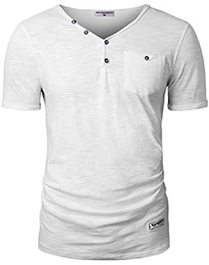 Men's Henley V Neck Short Sleeve T-Shirt