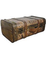 SAFE Houten koffer, ideaal als huwelijksgeschenk voor bruidspaar, geldgeschenk, houten kist met drager en handvat, schatkist bruiloft, schatkist kinderen, geschenkdoos, antiek houten kist 390 x 240 x 150 mm