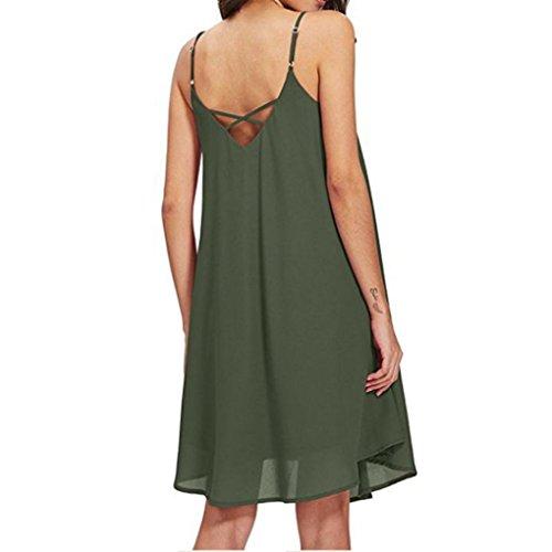 estampado Mujer una sexy V sin Verano LMMVP bolsillo 2018 A mangas Mujeres sling de Verde línea Vestidos XL mini floral vestido cuello dAnqXgq