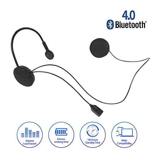 Radioddity Wireless Stereo Motorcycle Bluetooth 4.0 Helmet Headset, Wide Compatibility 8 Hours Working Time Bicycle Helmet Headphones with Hands-Free Speakers, Music Call Control by Radioddity (Image #1)'