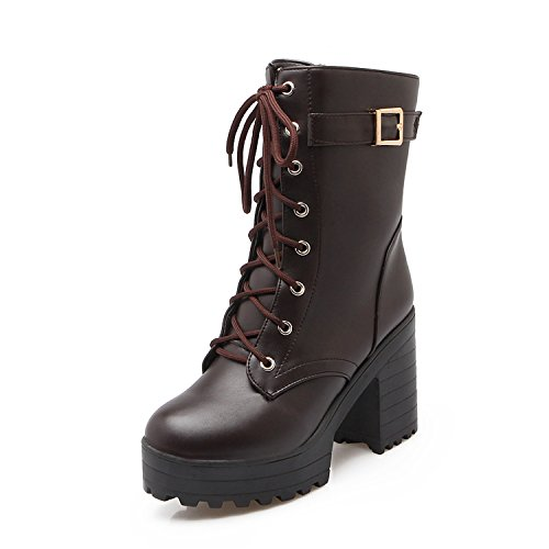 Leather Heels Waterproof (Women's Winter Fashion PU Leather Waterproof Platform Combat Ankle-High High-Heel Chunky Boots, Buckle Lace-up Martin Boots (6 US 37EU, Brown))