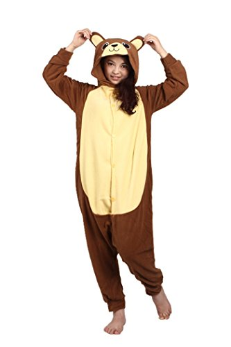 Adult Brown Bear Costumes (WOTOGOLD Animal Cosplay Costume Bear Unisex Adult Pajamas Brown, Small)