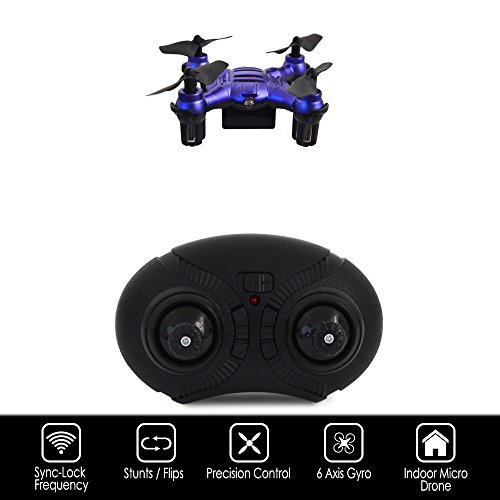 Hover-Way 6 Axis 2.4 GHZ Aerial Micro Drone with Built In Battery- Pocket Size Blue