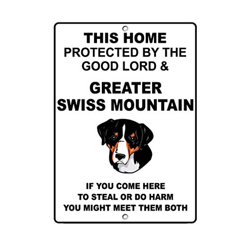 Aluminum Metal Sign Funny Greater Swiss Mountain Dog Home Protected by Good Lord and Informative Novelty Wall Art Vertical 8INx12IN ()
