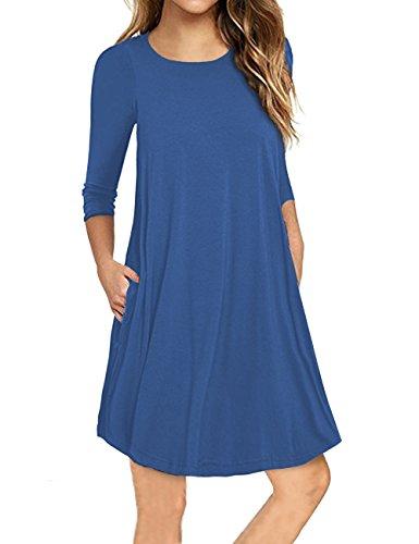 Traleubie Women's Casual royal Sleeve Swing 3 Loose Pleated Mini Blue Plain 2 Dress 4 Pockets FFWqrcd