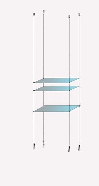 3 Fenster Ablagen aus gehärtetem Glas Kabel Display Stahl Draht Seil ...