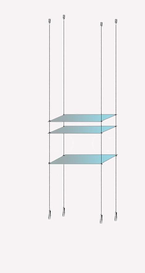 Mensole Sospese In Vetro.Finestra A 3 Ripiani In Vetro Temperato Display Cavo Corda In