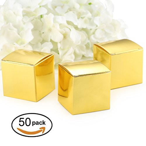 Gold Gift Candy Box Bulk 2x2x2 inch Small Party Favor Box, Gold Glitter, Pack of (Wedding Favor Supplies)