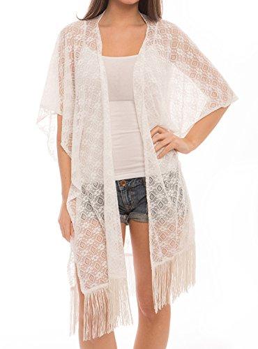 Women's Fashion Swimwear Cover-Ups Top Dress Chiffon Kimono Poncho Cardigan with Fringes (313, Diamond White)