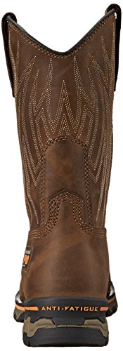 Timberland Pro Mens AG Boss Alloy Square Steel-Toe Pull-On Boot Brown Distressed Leather
