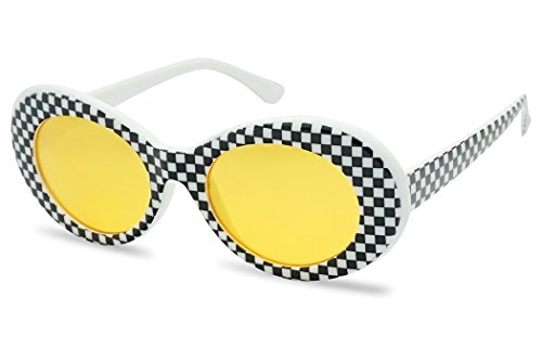 Colorful Oval Kurt Cobain Inspired Mod Round Pop Fashion Sunglasses (Black / White, Yellow) (Checkered Clout Goggles)