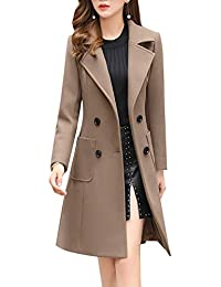 Women Elegant Notched Collar Double Breasted Wool Blend Over Coat