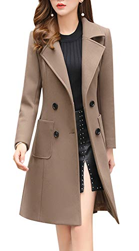 chouyatou Women Elegant Notched Collar Double Breasted Wool Blend Over Coat (Large, Khaki)