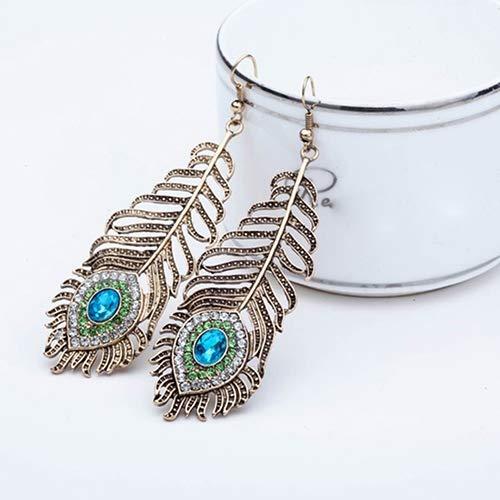 Dds5391 New Vintage Women Rhinestone Peacock Eye Feather Dangle Hook Earrings Jewelry