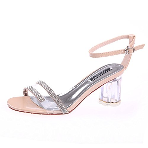 Kphy Cinturon Sandalias Toe Rocio 7cm Transparente Verano Diamante b6gf7yYv
