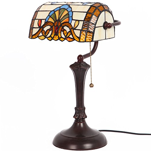 Bieye L10516 10 inch Baroque Tiffany Style Stained Glass Banker Desk Lamp, Table Lamp, 17 inch Tall Baroque Tiffany Style Table