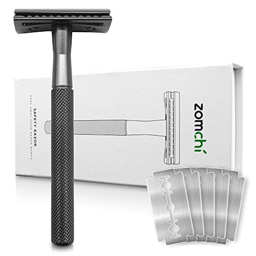 Razors for Men or Women, Safety Razor with 5 Blades, Shaving Razor with a Delicate Box, Fits All Double Edge Razor Blades(Black)