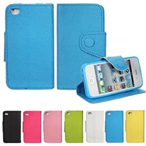 Flip Wallet Folio Style PU Leather Card Case Stand For iPhone 4 4S --- Color:Black