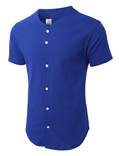 Mens Baseball Jersey Button Down T-shirts Plain Short Sleeve Fitted S-3xl (Large, Royal Blue) (Authentic Blue Baseball Jersey)
