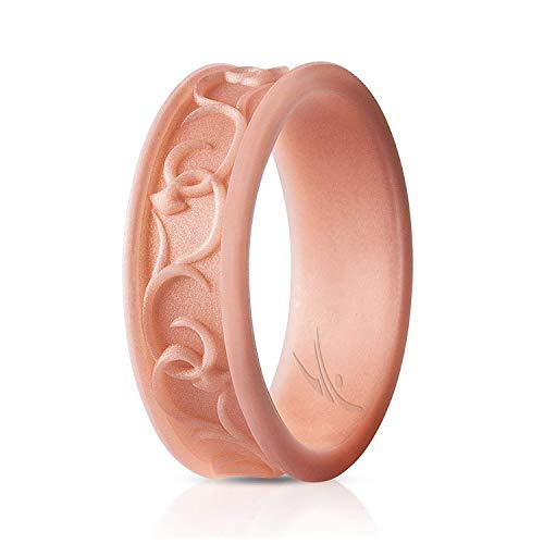 ROQ Silicone Wedding Ring for Women - Ornament Silicone Rubber Wedding Band - Rose Gold Colors - Size 5