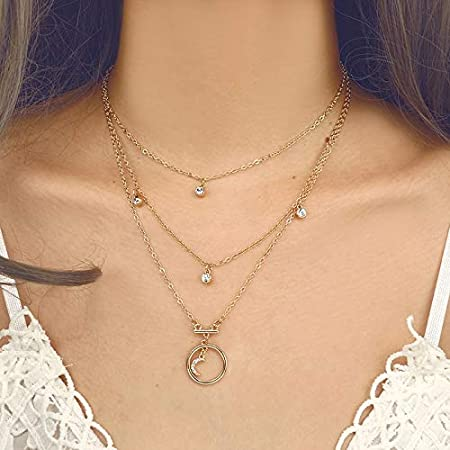 Davitu Bohemia Gold Chain Necklace Geometric Crystal Moon Pendant Simple Necklaces Layered Necklace Jewelry Statement 3294 Metal Color: Gold
