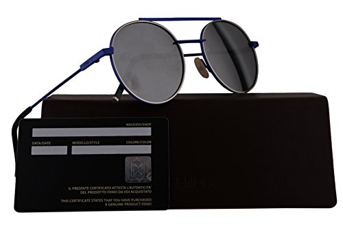 Fendi FF0221/S Sunglasses Blue w/Black Mirror 52mm Lens 0PJPT4 FF0221S FF 0221S FF - Fendi Prescription Sunglasses