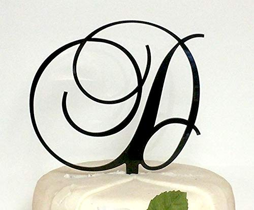 - Monogram Acrylic Letter Cake Toppers In Brushed Gold or Brushed Silver A B C D E F G H I J K L M N O P R S T U V W (Letter D, Brushed Silver)