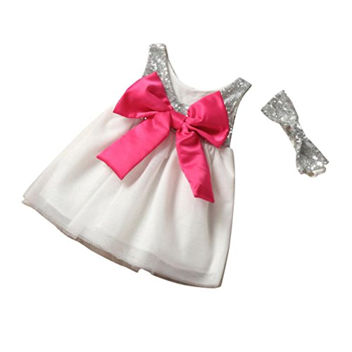 Anshinto Children Girls Dress Sequined Bow Ball Gown Tulle Headband Party Girl Dresses (80) (Pan Sequined Collar Peter)