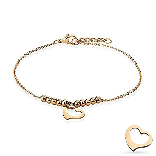 - Dangling Heart and Multi Beads Chain Rose Gold Stainless Steel Anklet/Bracelet