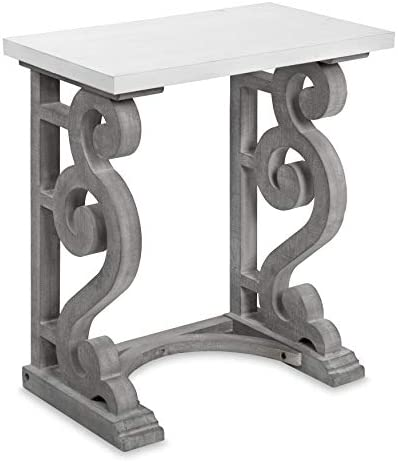 Kate and Laurel Wyldwood French Country Wood Side Table, 24 x 14 x 27, White and Gray, Chic Farmhouse Inspiration