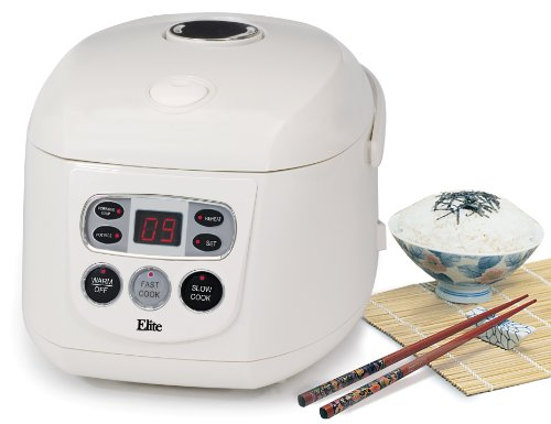 Elite Gourmet ERC-150 Maxi-Matic 8 Cup Programmable Rice Cooker, White